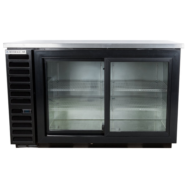 "Beverage Air BB58HC-1-GS-B 59"" Back Bar Refrigerator with 2 Sliding Glass Doors 115V"