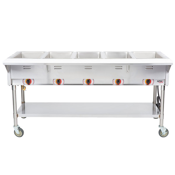 APW Wyott PSST5S Portable Steam Table - Five Pan - Sealed Well, 208V Main Image 1