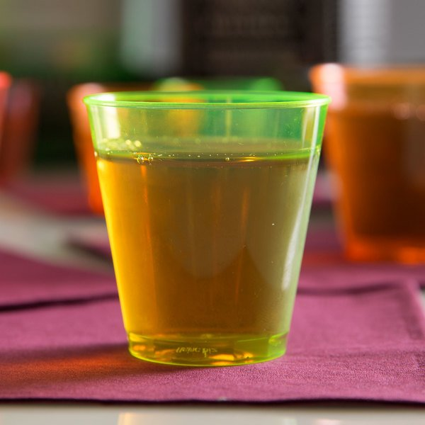 Fineline Quenchers 402-Y 2 oz. Neon Yellow Hard Plastic Shot Cup - 50/Pack