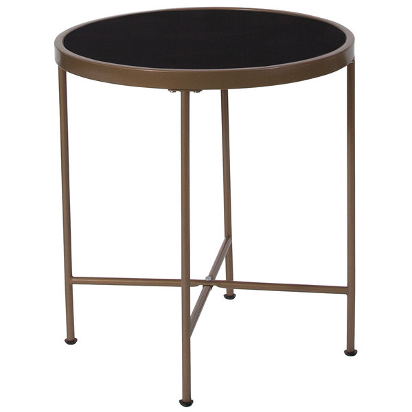 "Flash Furniture NAN-JN-21751ET-GG Chelsea 19 1/2"" x 21 1/4"" Round Black Glass End Table with Matte Gold Metal Legs Main Image 1"