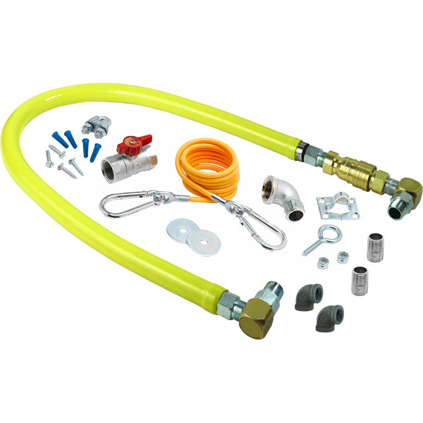 """T&S HG-4E-36SK-FF Safe-T-Link 36"""" SwiveLink Quick Disconnect Gas Appliance Connector with Elbows, Nipples, Restraining Cable, and Ball Valve - 1"""" NPT Ends Main Image 1"""