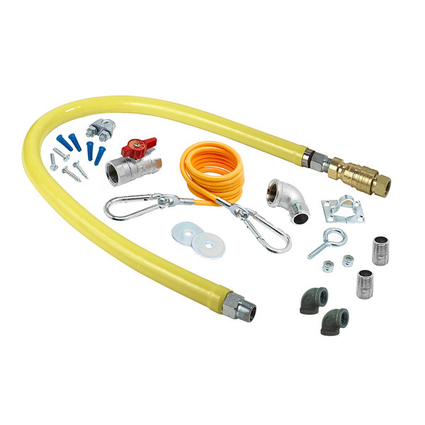 """T&S HG-4F-48K-FF Safe-T-Link 48"""" FreeSpin Quick Disconnect Gas Connector Hose with Elbows, Nipples, Restraining Cable, and Ball Valve - 1 1/4"""" NPT Main Image 1"""