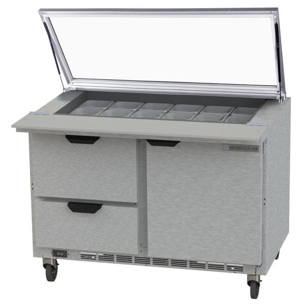 "Beverage-Air SPED48HC-18M-2-STL 48"" 1 Door 2 Drawer Mega Top Glass Lid Refrigerated Sandwich Prep Table"