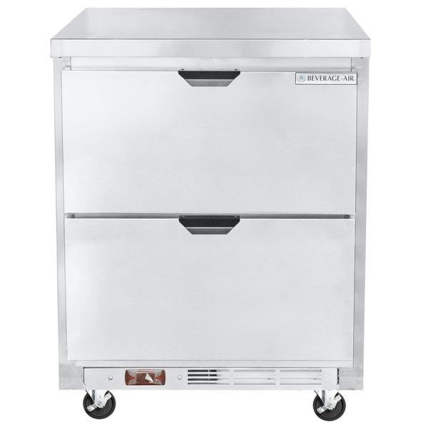 """Beverage-Air WTRD27AHC-2-FLT-23 27"""" Compact ADA Height Worktop Refrigerator with Two Drawers Main Image 1"""