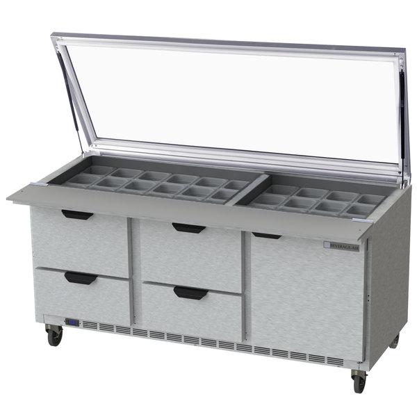 beverage air sped72hc 30m 4 stl 72 1 door 4 drawer mega top glass rh webstaurantstore com Dresser Drawer Track Guide Drawer Construction