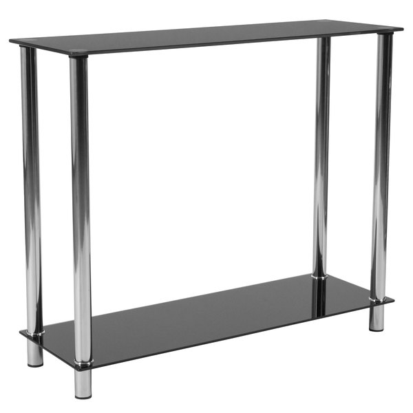 """Flash Furniture HG-112350-GG Riverside 35 1/5"""" x 11 3/4"""" x 29 3/4"""" Black Glass Console Table with Shelves and Stainless Steel Frame"""