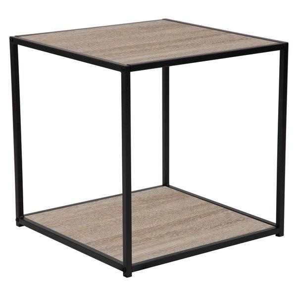 "Flash Furniture NAN-JN-21744ET-GG Midtown 19 1/2"" x 19 1/2"" x 20"" Square Sonoma Oak Wood Grain Finish End Table with Black Metal Frame Main Image 1"