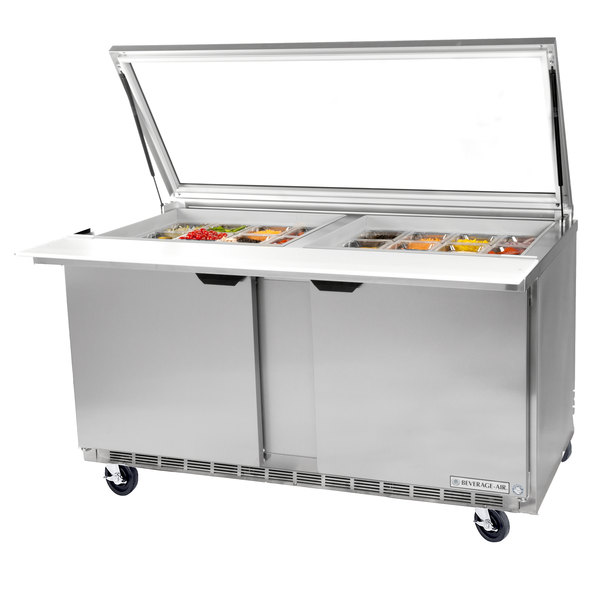 "Beverage-Air SPE72HC-30M-STL-02 72"" 3 Door Mega Top Glass Lid Refrigerated Sandwich Prep Table with Stainless Steel Interior"