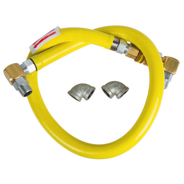 "T&S HG-6E-60S Safe-T-Link 60"" SwiveLink Quick Disconnect Gas Connector Hose with Elbows - 1"" NPT Main Image 1"