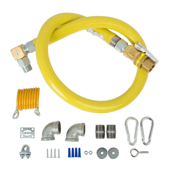 """T&S HG-4F-48SEL-FF Safe-T-Link 48"""" SwiveLink Quick Disconnect Gas Hose with Swivel Fitting, Gas Elbows, and Restraining Cable - 1 1/4"""" NPT Main Image 1"""