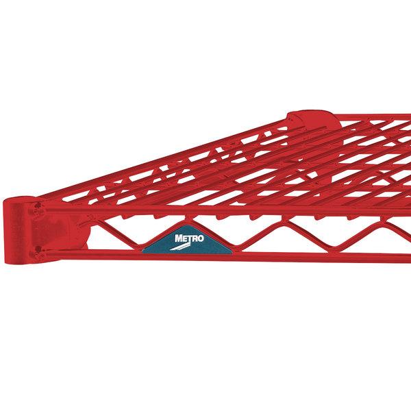 "Metro 1424NF Super Erecta Flame Red Wire Shelf - 14"" x 24"""