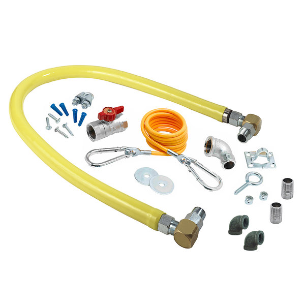"""T&S HG-2D-36SK-FF Safe-T-Link 36"""" SwiveLink Gas Appliance Connector with Elbows, Nipples, Restraining Cable, and Ball Valve - 3/4"""" NPT Main Image 1"""