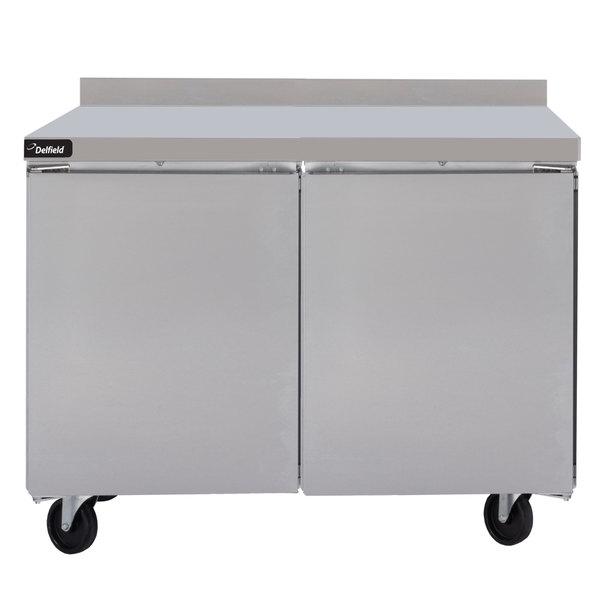 """Delfield GUF48BP-S 48"""" Two Door ADA Height Worktop Freezer with 3"""" Casters"""