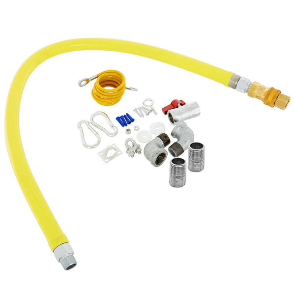 """T&S HG-4C-36K-FF Safe-T-Link 36"""" FreeSpin Quick Disconnect Gas Connector Hose with Elbows, Nipples, Restraining Cable, and Ball Valve - 1/2"""" NPT Main Image 1"""