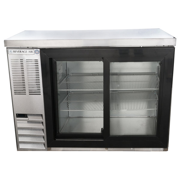 """Beverage-Air BB48HC-1-GS-S-27-ALT 48"""" Stainless Steel Sliding Glass Door Back Bar Refrigerator with Stainless Steel Top and Left Side Compressor Main Image 1"""