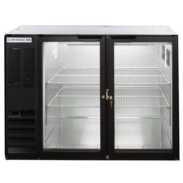 """Beverage-Air BB48HC-1-G-B-ALT 48"""" Black Glass Door Back Bar Refrigerator with Left Side Compressor Main Image 1"""