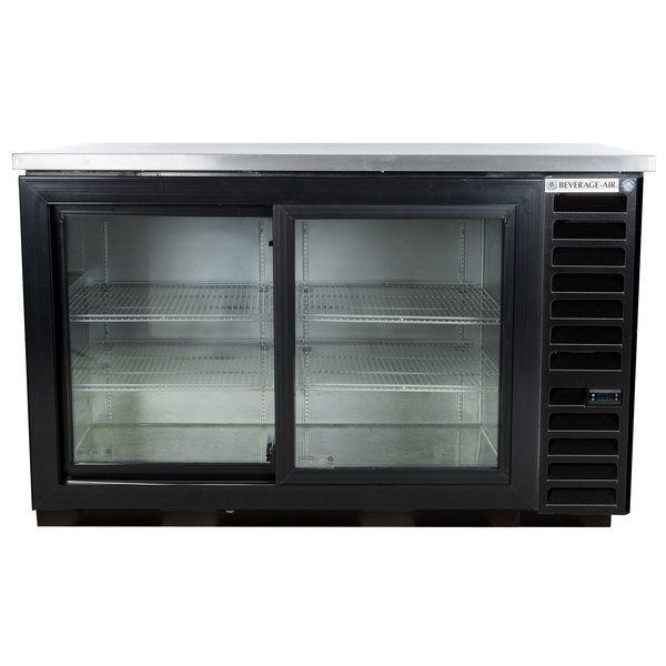 "Beverage-Air BB58HC-1-GS-B-ALT 59"" Black Sliding Glass Door Back Bar Refrigerator with Stainless Steel Top and Right Side Compressor Main Image 1"
