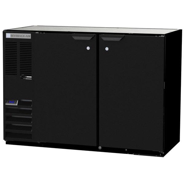 """Beverage-Air BB48HC-1-B-ALT 48"""" Black Solid Door Back Bar Refrigerator with Left Side Compressor Main Image 1"""