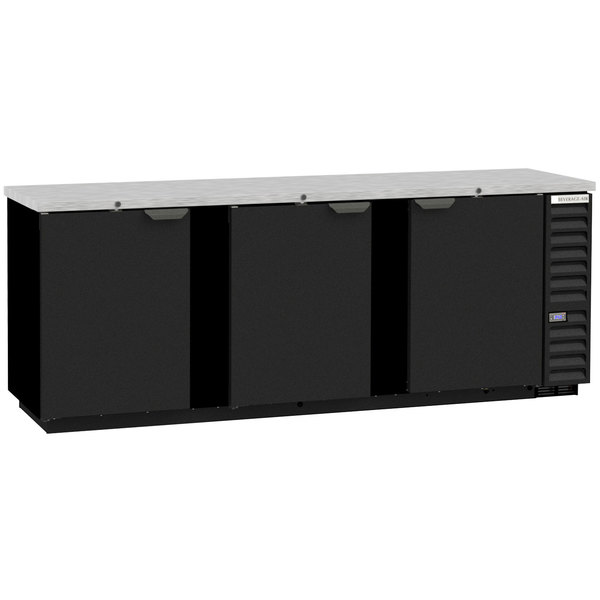"""Beverage-Air BB94HC-1-B-ALT 95"""" Black Counter Height Solid Door Back Bar Refrigerator with Right Side Compressor Main Image 1"""