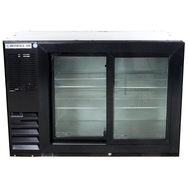 """Beverage-Air BB48HC-1-GS-B-ALT 48"""" Black Sliding Glass Door Back Bar Refrigerator with Left Side Compressor Main Image 1"""