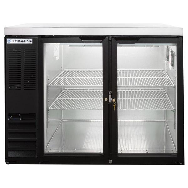 "Beverage-Air BB48HC-1-G-B-27-ALT 48"" Black Glass Door Back Bar Refrigerator with Stainless Steel Top and Left Side Compressor Main Image 1"