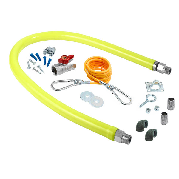 """T&S HG-2F-48K-FF Safe-T-Link 48"""" FreeSpin Gas Connector Hose with Elbows, Nipples, Restraining Cable, and Ball Valve - 1 1/4"""" NPT Main Image 1"""