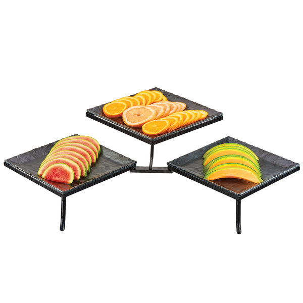 """Cal-Mil SR1600-65M Two Tier Podium Display with Three Faux Slate Melamine Platters - 35 1/2"""" x 18 1/2"""" x 10 1/2"""" Main Image 1"""