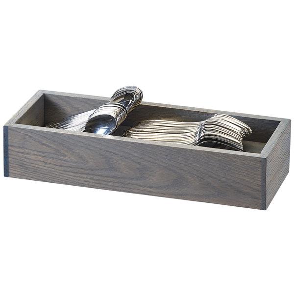 "Cal-Mil 3819-83 Ashwood 2 Compartment Gray Oak Wood Flatware Organizer - 15"" x 6"" x 3"""