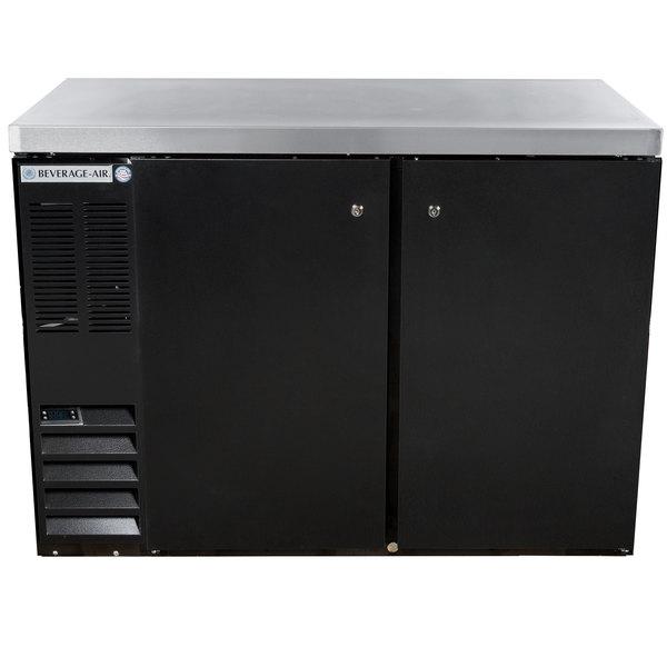 "Beverage-Air BB48HC-1-B-27-ALT 48"" Black Solid Door Back Bar Refrigerator with Stainless Steel Top and Left Side Compressor Main Image 1"