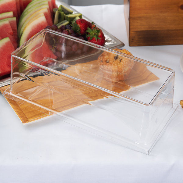 "Cal-Mil 3654-CVR 6 1/4"" x 13 3/4"" x 4 1/4"" Clear Rectangular Tray Cover Main Image 6"