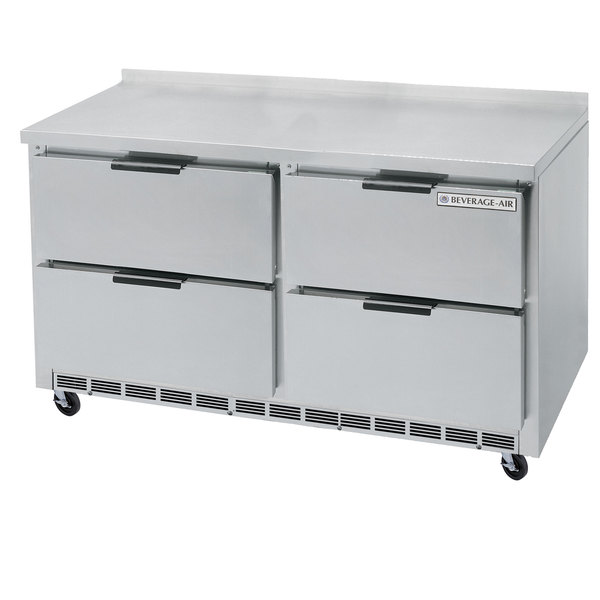 """Beverage-Air WTRD60AHC-4-FIP 60"""" Compact Worktop Refrigerator with Four Drawers and 4"""" Foamed-In-Place Backsplash"""