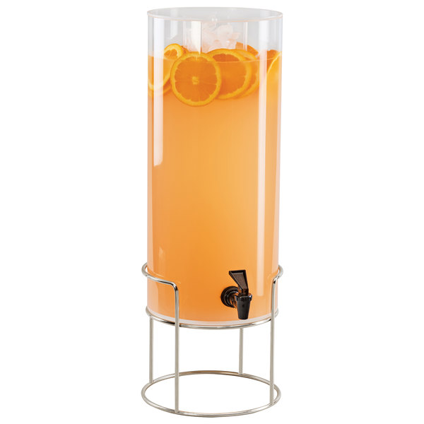 Cal-Mil 22005-3INF-49 Mid Century 3 Gallon Round Beverage Dispenser with Infusion Chamber and Chrome Wire Base