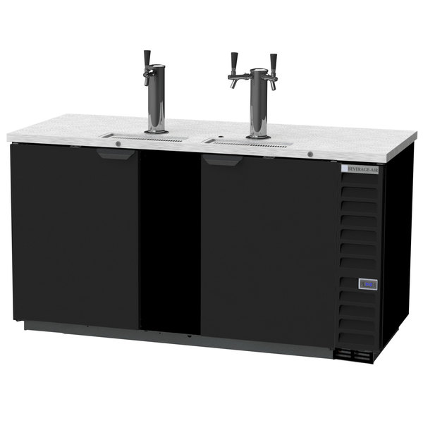 Beverage-Air DD68HC-1-B-ALT Black 1 Single and 1 Double Tap Kegerator Beer Dispenser with Right Side Compressor - (3) 1/2 Keg Capacity Main Image 1
