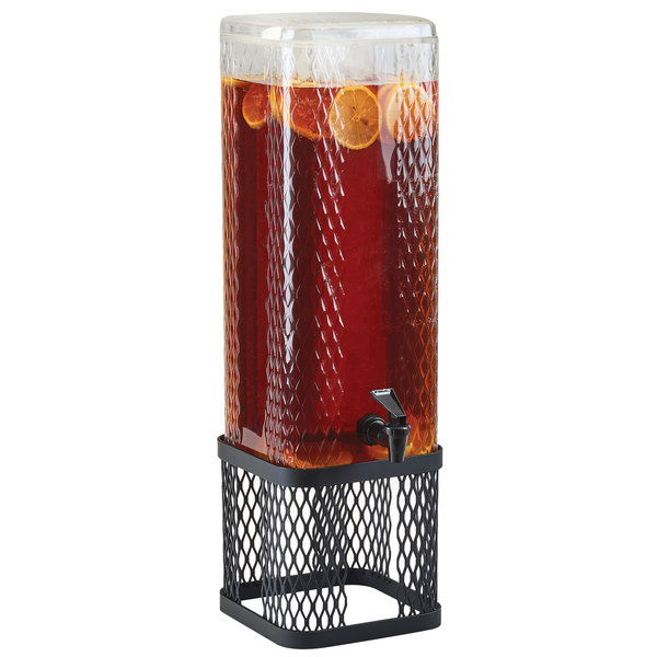 Cal-Mil 22001-3-13 Black Diamond 3 Gallon Beverage Dispenser with Ice Chamber and Black Metal Mesh Base Main Image 1