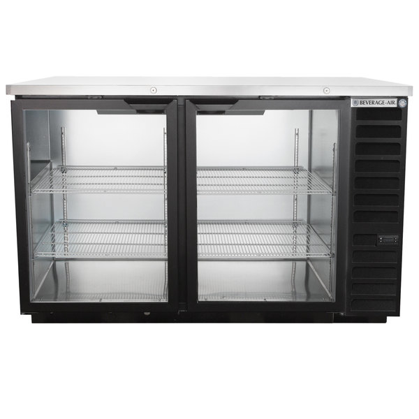 """Beverage-Air BB58HC-1-G-B-ALT 59"""" Black Glass Door Back Bar Refrigerator with Stainless Steel Top and Right Side Compressor Main Image 1"""