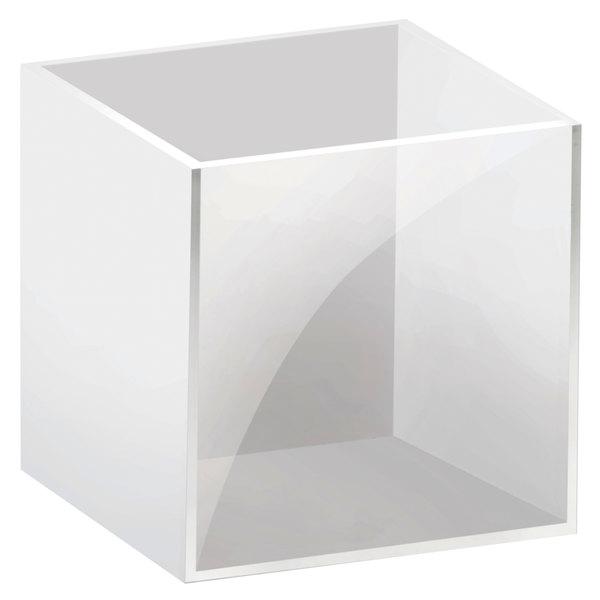 "Cal-Mil C4X4-15 White / Clear Acrylic Jar - 4"" x 4"" x 4"" Main Image 1"