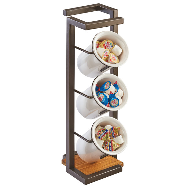"""Cal-Mil 3912-84 Sierra Bronze Metal and Reclaimed Wood 3 Cylinder Flatware / Condiment Stand - 6 3/4"""" x 6 3/4"""" x 19 1/2"""""""