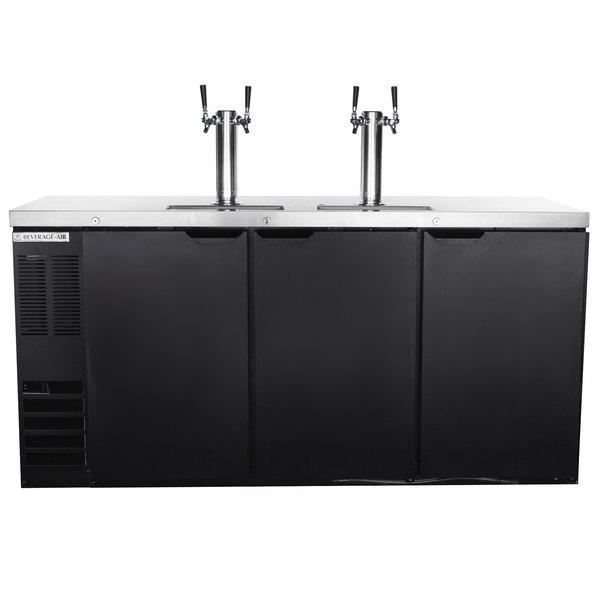 Beverage-Air DD72HC-1-B-ALT Black 2 Double Tap Kegerator Beer Dispenser with Left Side Compressor - (3) 1/2 Keg Capacity Main Image 1