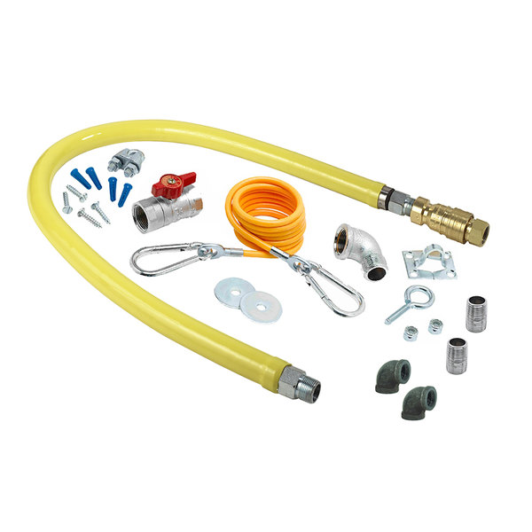 """T&S HG-4D-48K-FF Safe-T-Link 48"""" FreeSpin Quick Disconnect Gas Connector Hose with Elbows, Nipples, Restraining Cable, and Ball Valve - 3/4"""" NPT Main Image 1"""