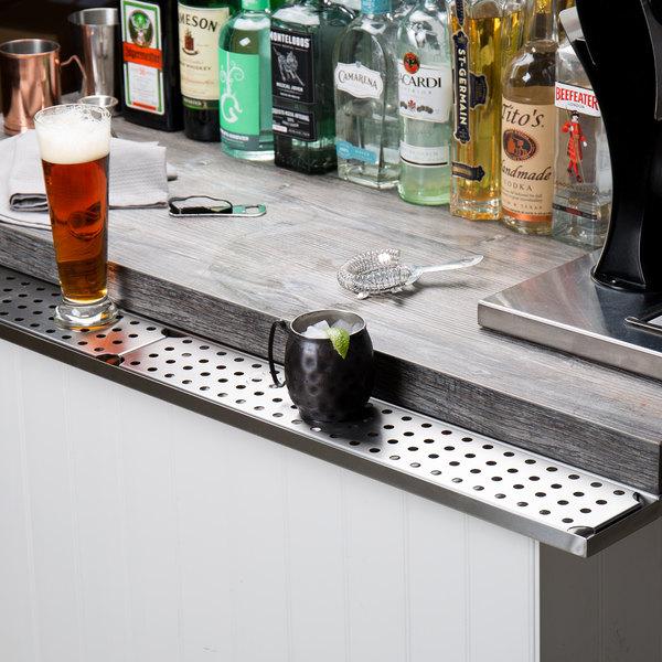 """Stainless Steel Bar Drink Rail (48"""" - Underbar Mount)"""