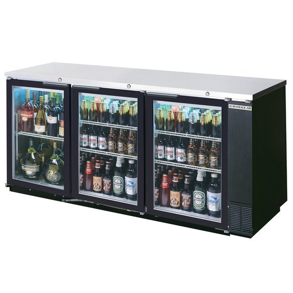 """Beverage-Air BB78HC-1-G-B-ALT 79"""" Black Glass Door Back Bar Refrigerator with Stainless Steel Top and Right Side Compressor"""