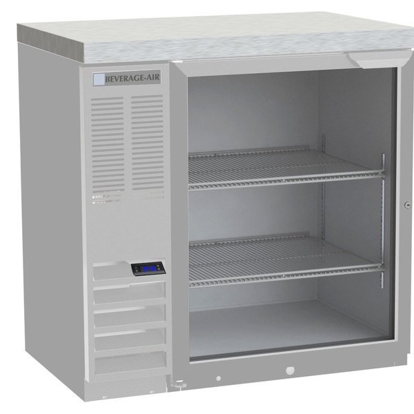 """Beverage-Air BB36GF-1-S-27-ALT 36"""" Food Safe Stainless Steel Glass Door Back Bar Refrigerator with Stainless Steel Top and Left Side Compressor Main Image 1"""