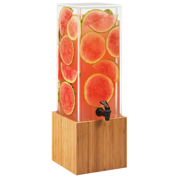 "Cal-Mil 3697-3-60 Bamboo 3 Gallon Beverage Dispenser with Decorative Wall 8 1/4"" x 9 3/4"" x 25 3/4"""