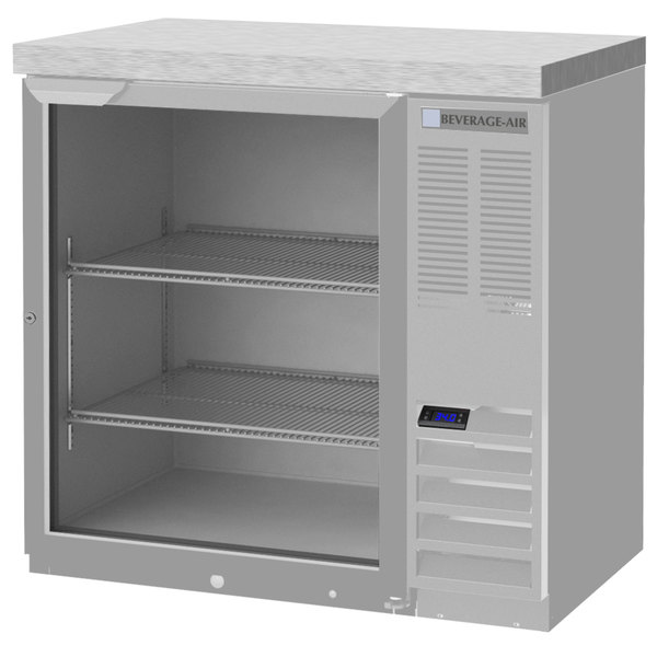 """Beverage-Air BB36GF-1-S-27 36"""" Food Safe Stainless Steel Glass Door Back Bar Refrigerator with Stainless Steel Top"""