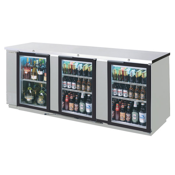 "Beverage-Air BB72HC-1-GS-S-27-ALT 72"" Stainless Steel Counter Height Sliding Glass Door Back Bar Refrigerator with Left Side Compressor Main Image 1"