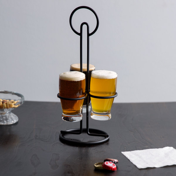 Acopa Three-Hole Metal Flight Carrier with Barbary Tasting Glasses