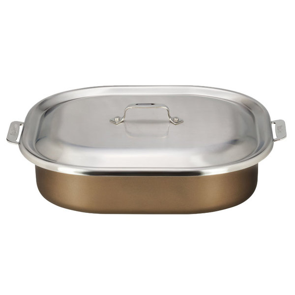 "Bon Chef 60004CLDTAUPE Cucina 7 Qt. Taupe Stainless Steel Roasting Pan with Lid - 15"" x 11"" x 4 1/8"" Main Image 1"