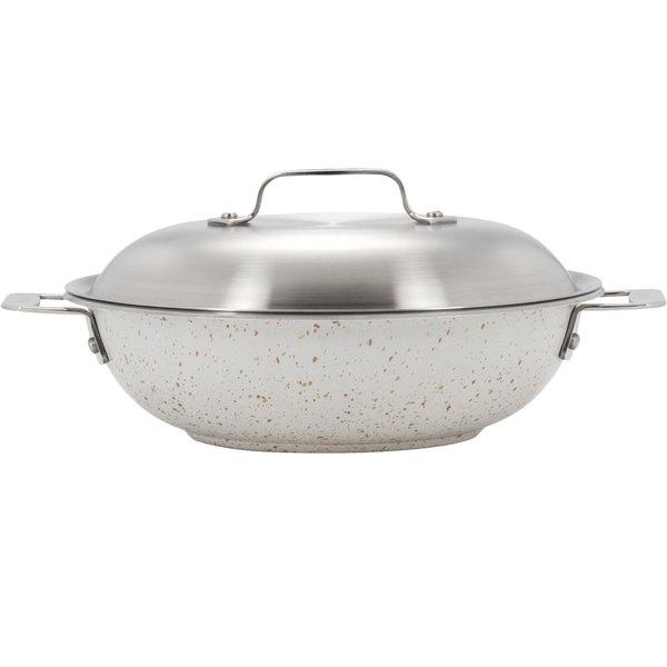 "Bon Chef 60015DESERT Cucina 12"" Desert Stainless Steel Stir Fry Pan with Lid Main Image 1"
