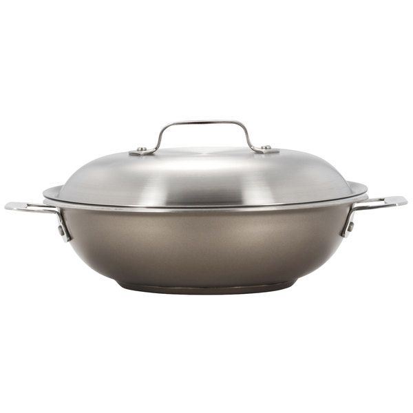 """Bon Chef 60015TAUPE Cucina 12"""" Taupe Stainless Steel Stir Fry Pan with Lid Main Image 1"""