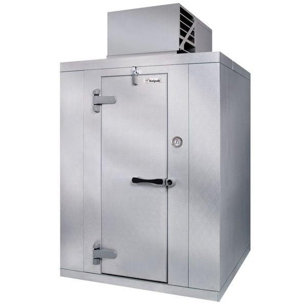 Left Hinged Door Kolpak PX6-0612-CT Polar Pak 6' x 12' x 6' Floorless Indoor Walk-In Cooler with Top Mounted Refrigeration
